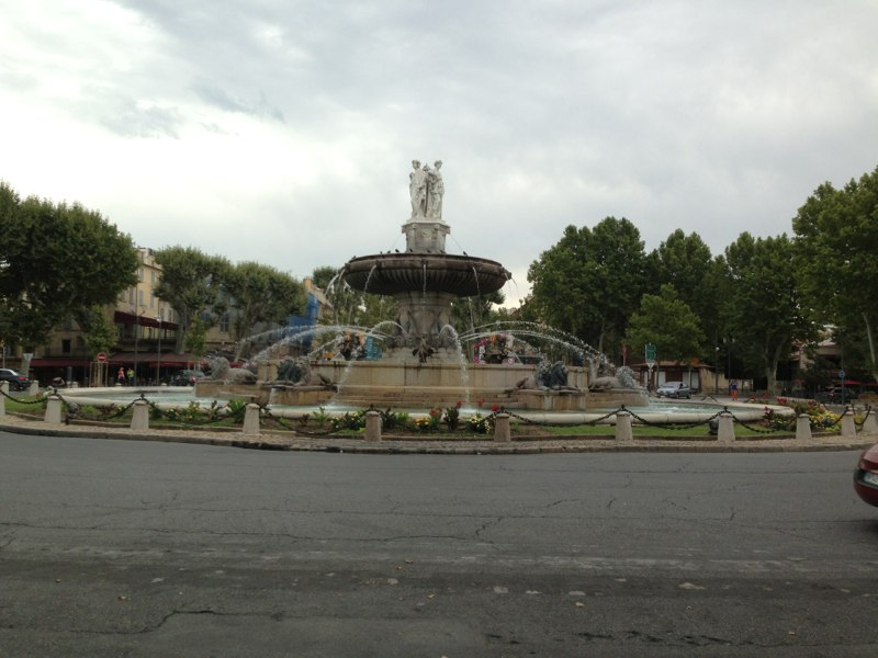 The first of countless amazing fountains all around Aix-en-Provence