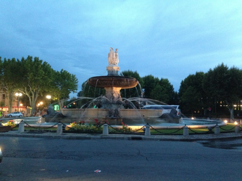 The fountain at dusk